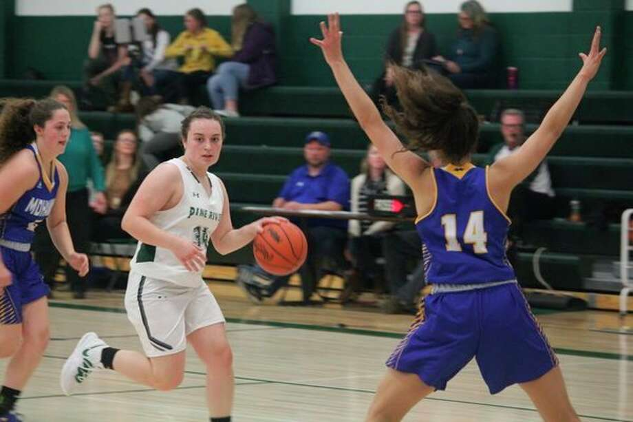 Pine River's Chelsea Wanstead applies the pressure in recent action. (Pioneer file photo)