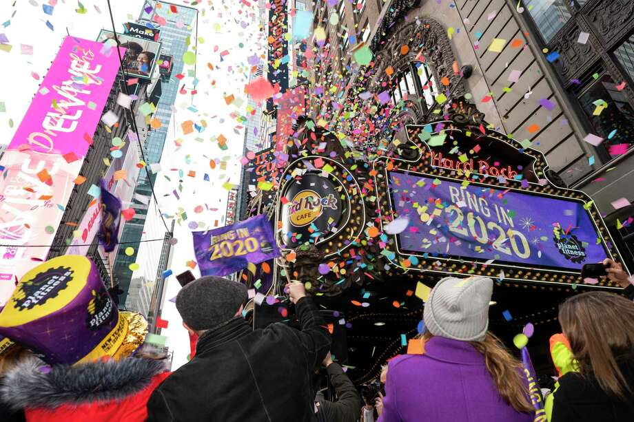 "Presenting sponsor of Times Square's New Year's Eve celebration for the fifth year in a row, Planet Fitness tests the ""air worthiness"" of confetti prior to the big event in New York City in partnership with Times Square Alliance on Sunday, Dec. 29, 2019 in New York. Photo: Ben Hider / Associated Press / Copyright 2019 The Associated Press. All rights reserved."