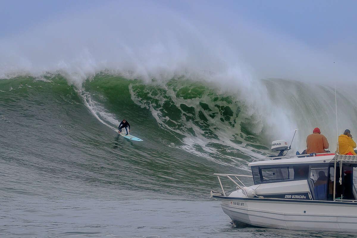 Big waves swelled at Mavericks surf break, about 20 miles south of San Francisco, onDec. 13, 2019.