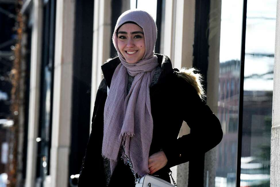 Zahra Hashimee, a Clifton Park native and University at Albany student, has become famous on the video-sharing social networking app TikTok. She's pictured here on Friday, Dec. 20, 2019, in Albany, N.Y. (Will Waldron/Times Union)