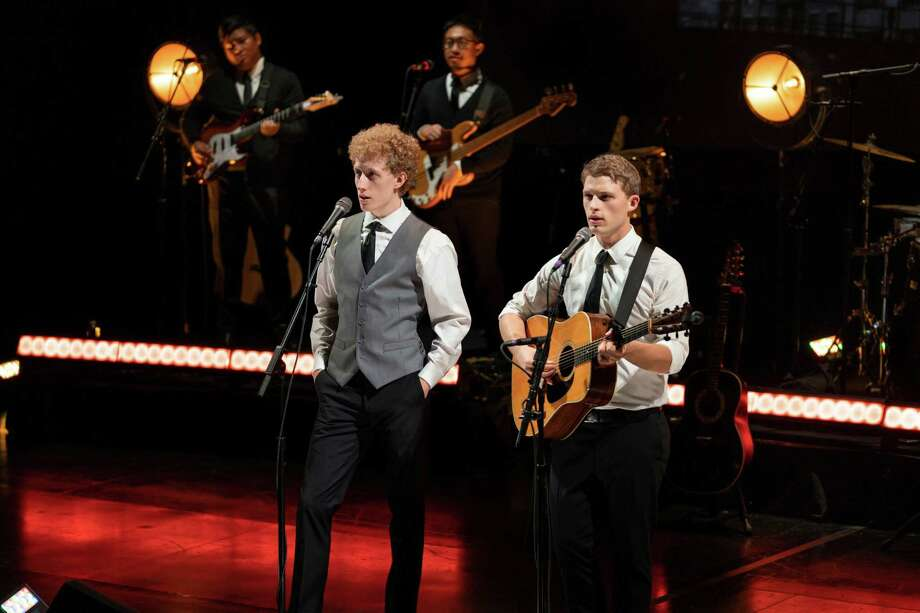 """The internationally-acclaimed hit theater show, """"The Simon & Garfunkel Story"""" will stop at Waterbury's Palace Theater on Jan. 25, as part of a fifty-state coast to coast tour. Pictured are Ben Cooley as Art Garfunkel and Taylor Bloom as Paul Simon. Photo: Contributed Photo /"""