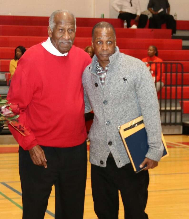 Former Hyde/Creed boys basketball coach Steve Jefferson, right, poses with former Wilbur Cross coach Bob Saulsbury at the Saulsbury Invitational. Photo: Submitted Photo