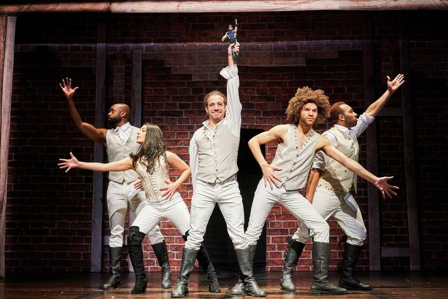 """Datus Puryear, from left, Ani Djirdjirian, Adrian Lopez, Dominic Pecikonis and Chuckie Benson star in the """"Hamilton"""" spoof """"Spamilton,"""" which is coming to the Majestic Theatre. Photo: Roger Mastroianni"""