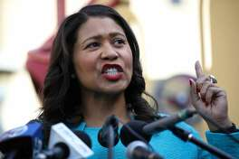 FILE - San Francisco mayor London Breed speaks during a press conference at Hamilton Families on Nov. 21, 2019 in San Francisco. Breed and members of the city's Board of Supervisors announced Monday a new plan to continue classes for the Older Adults program at City College of San Francisco, which were at risk of being cut as the school faces funding deficits.