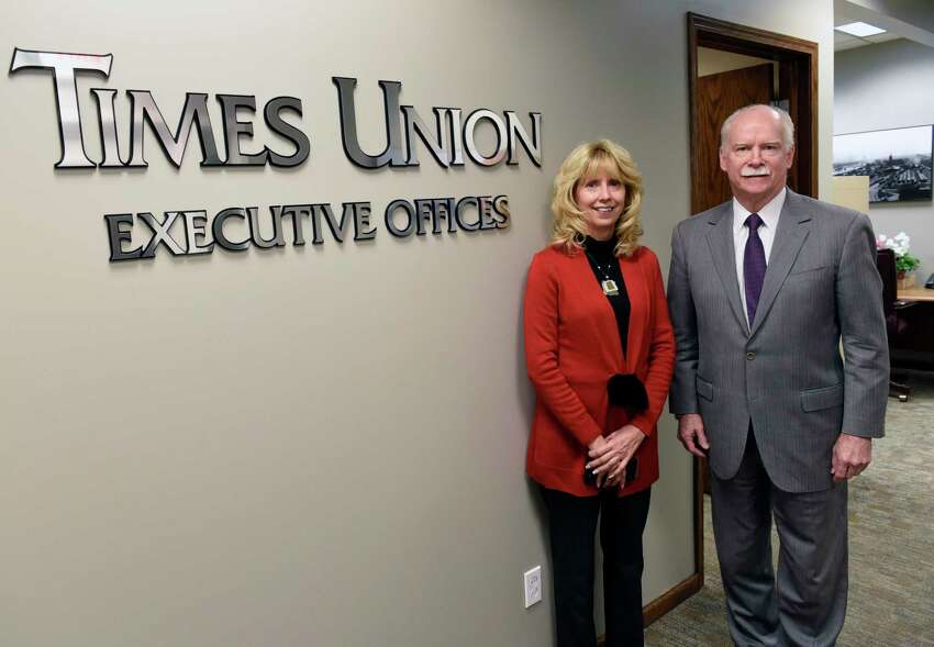 Times Union Publisher George Hearst III stands with the new Associate Publisher/Vice President of Strategy and Revenue Patricia