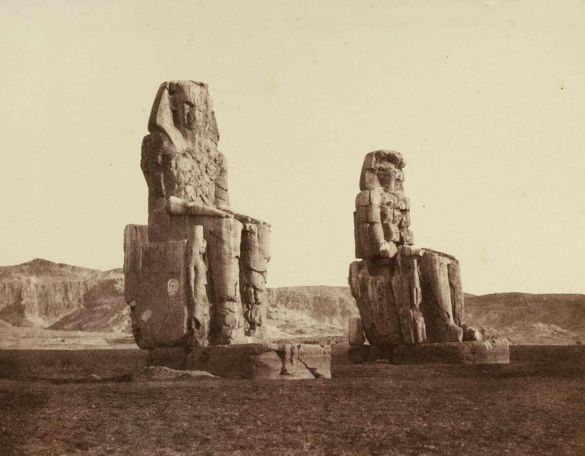 "FA©lix Teynard, Colosses de Memnon, Gournah A Thebes, 1851a€?""52. Salt print. Photo courtesy the Clark"