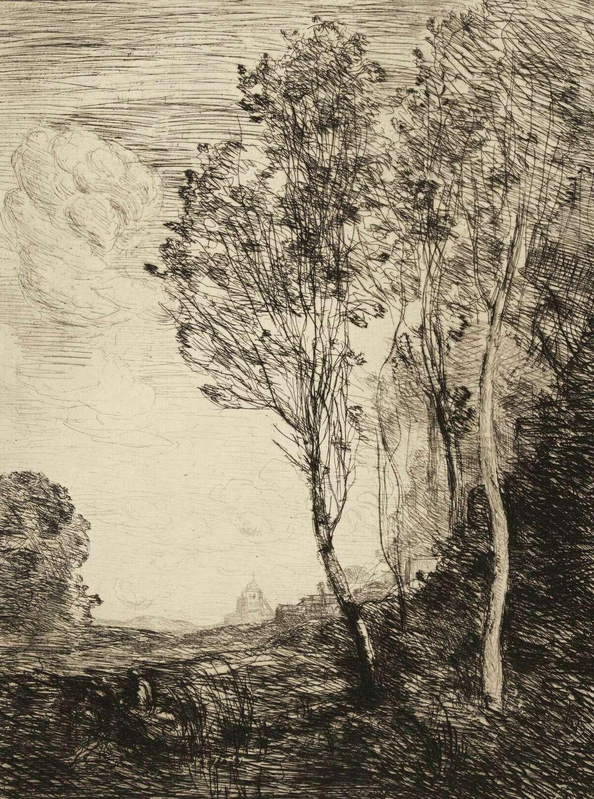 Jean-Baptiste-Camille Corot, Souvenir d'Italie, 1863. Etching. Photo courtesy the Clark