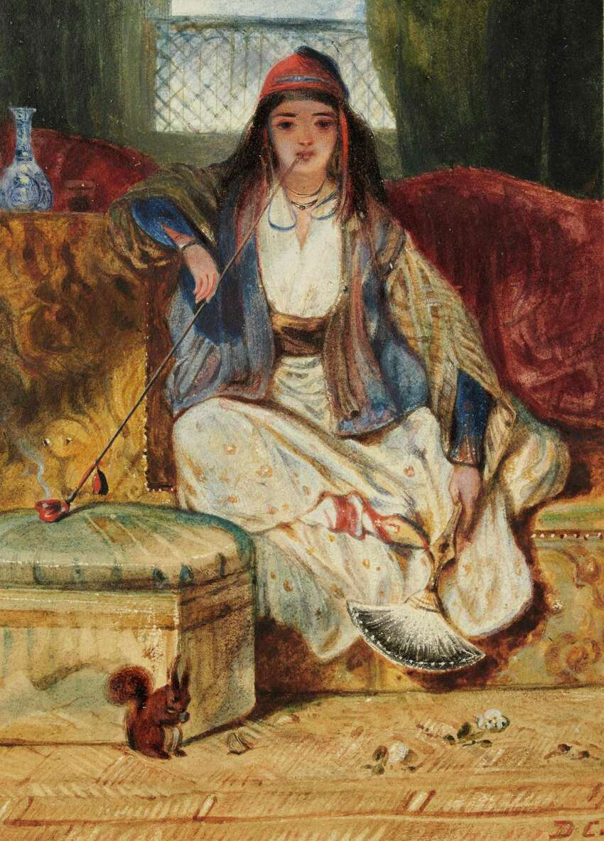 Alexandre-Gabriel Decamps, Cypriot Woman Smoking a Chibouk, after 1828. Watercolor, gouache, black and brown ink