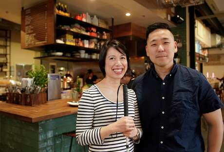 Christine Ha, chef-owner, and her husband and business partner, John Suh, at The Blind Goat, a Vietnamese gastropub in Bravery Chef Hall, 409 Travis.