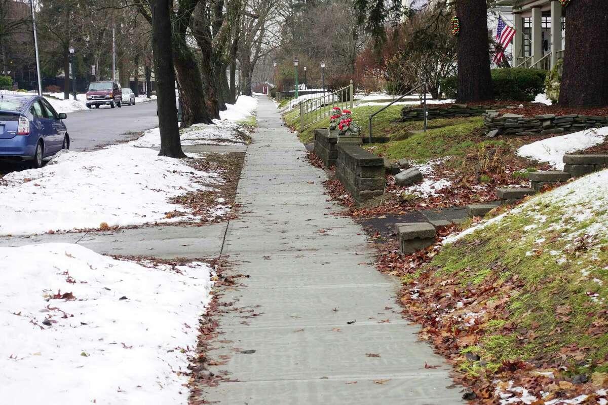 A view of new sidewalks on Ardsley Road on Tuesday, Dec. 31, 2019, in Schenectady, N.Y. (Paul Buckowski/Times Union)