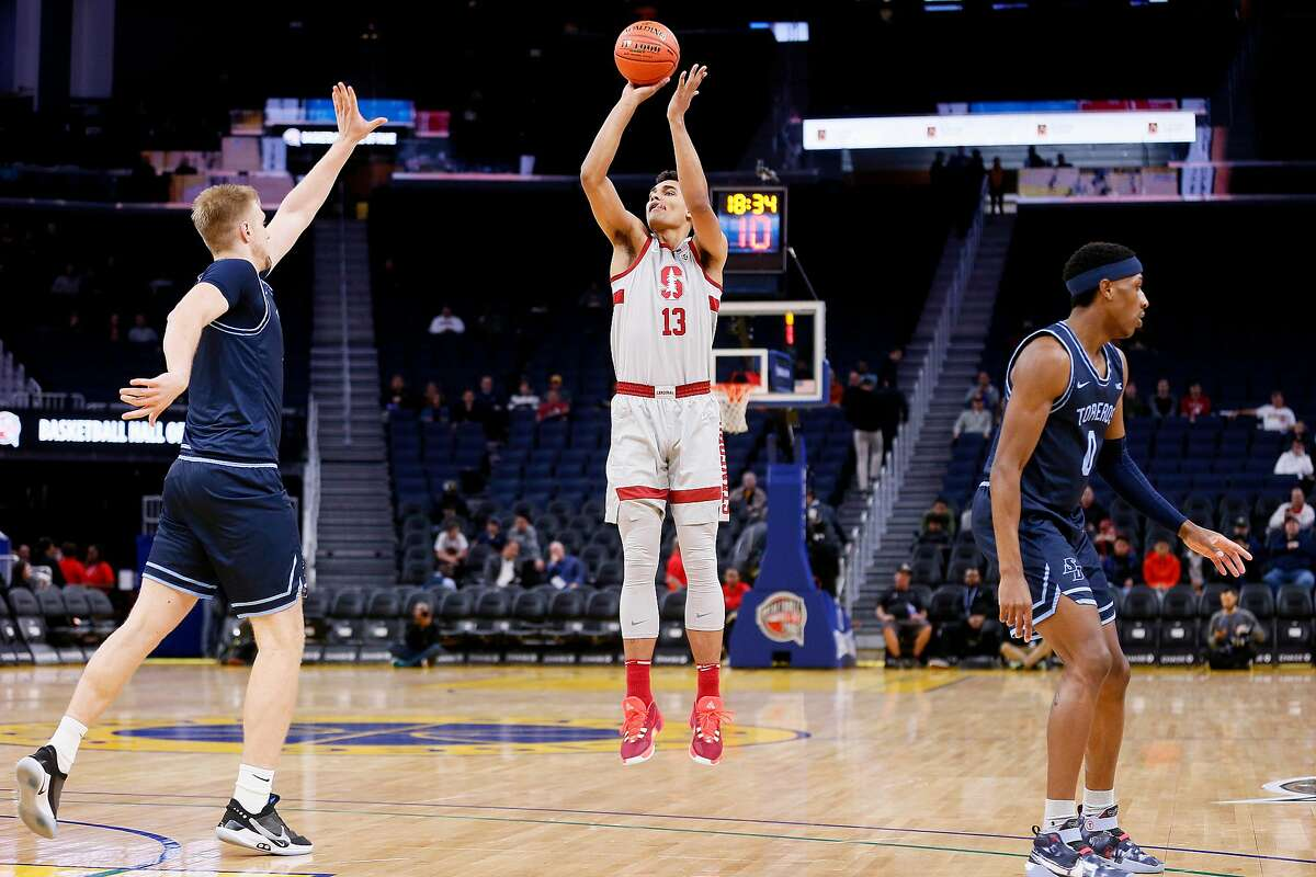 Stanford Cardinal forward Oscar da Silva (13) scores against the San Diego Toreros in Session 1 of the Al Attles Classic at Chase Center on Saturday, Dec. 21, 2019, in San Francisco, Calif.