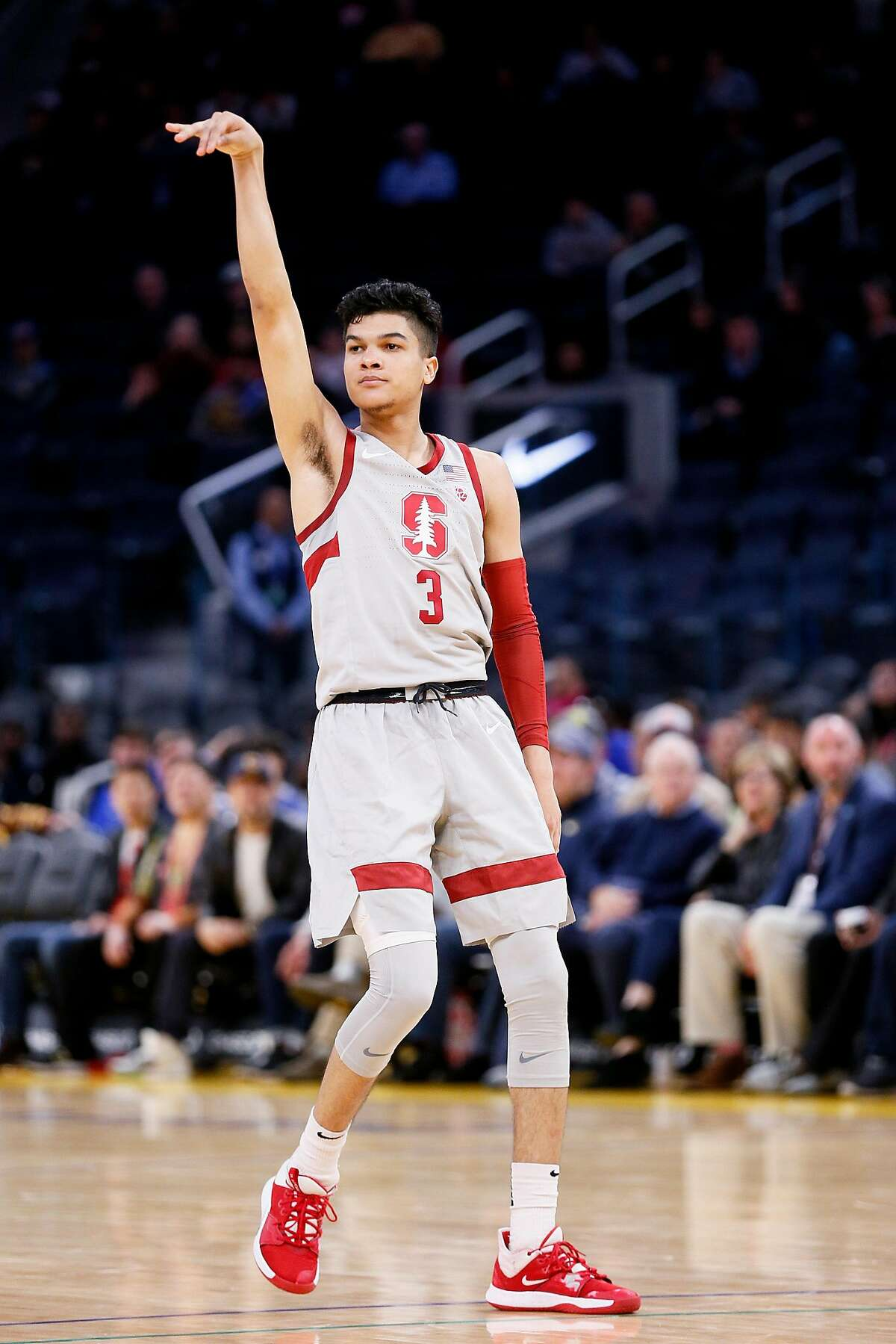 Stanford Cardinal guard Tyrell Terry (3) after scoring a three-point shot late in the second half against the San Diego Toreros in Session 1 of the Al Attles Classic at Chase Center on Saturday, Dec. 21, 2019, in San Francisco, Calif.