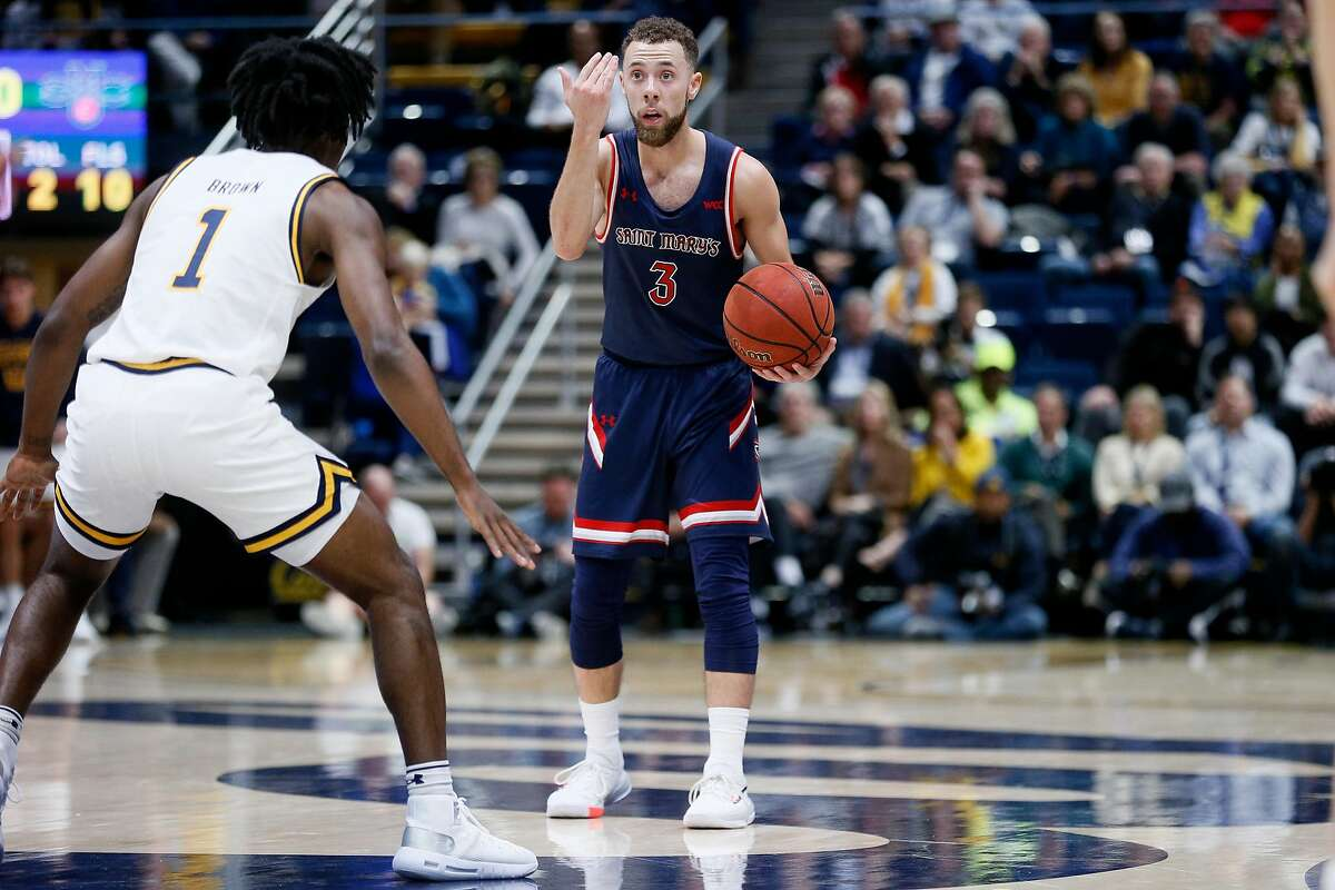 St. Mary's Gaels guard Jordan Ford (3) against California Golden Bears guard Joel Brown (1) in the second half of an NCAA men�s basketball game at Haas Pavilion on Saturday, Dec. 14, 2019, in Berkeley, Calif.