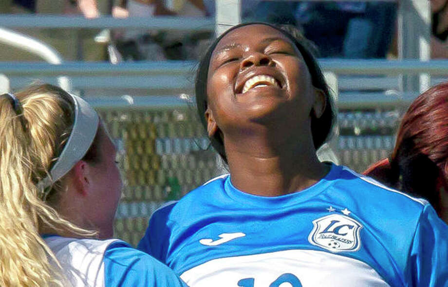 Boitulemo Rabale of Lewis and Clark smiles after scoring a goal in the NJCAA Division I National Tournament in November in Melbourne, Fla. Photo: Jan Dona | For The Telegraph