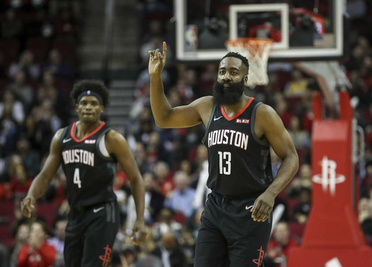 PHOTOS: 2019-20 Rockets game-by-game Houston Rockets guard James Harden (13) reacts after scoring during the first quarter of an NBA game at the Toyota Center on Tuesday, Dec. 31, 2019, in Houston. >>>See how the Rockets have fared in each game so far this season ...