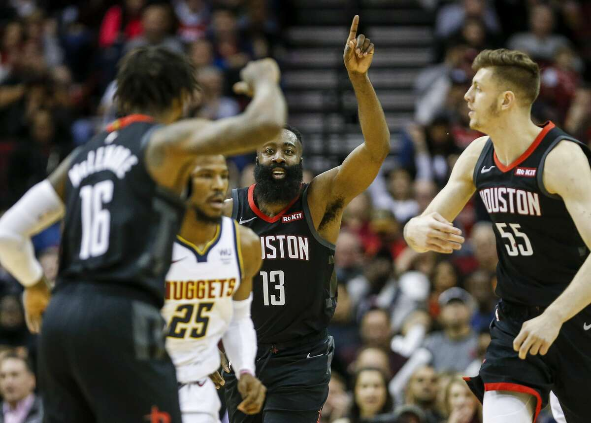 \Houston Rockets guard James Harden (13) celebrates during the third quarter of an NBA game at the Toyota Center on Tuesday, Dec. 31, 2019, in Houston.