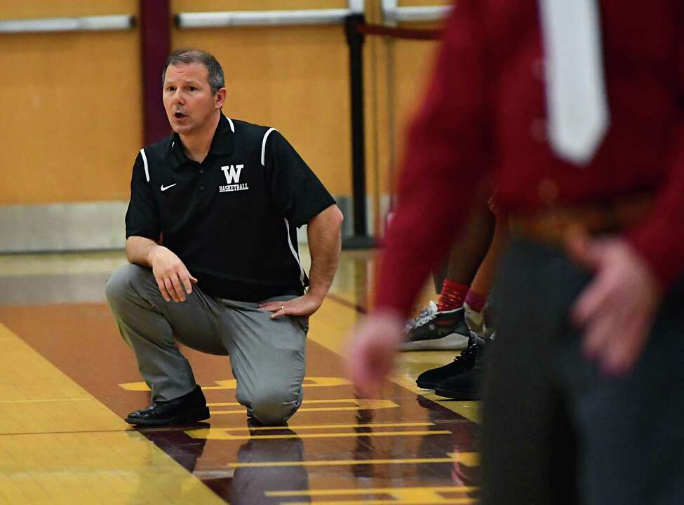 Watervliet head coach Orlando DiBacco is seen on the sideline during a basketball game against Guilderland on Tuesday, Dec. 31, 2019 in Colonie, N.Y. (Lori Van Buren/Times Union)