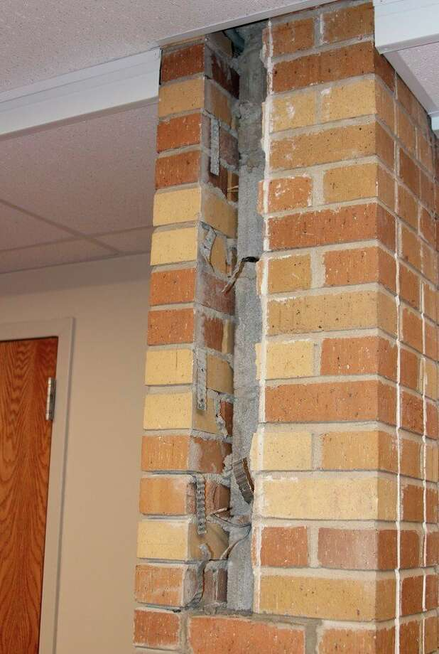 Officials from The Maples Medical Care Facility say the Benzie County Building Authority should continue using excess funds from a capital improvement millage for equipment and repairs, such as a hole in the wall created by Phase 3 renovations of the old building. (Photo/Colin Merry)