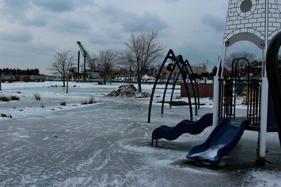 A portion of Mineral Springs Park, in Frankfort, is now a sheet of ice after being flooded throughout the year. (Photo/Colin Merry)