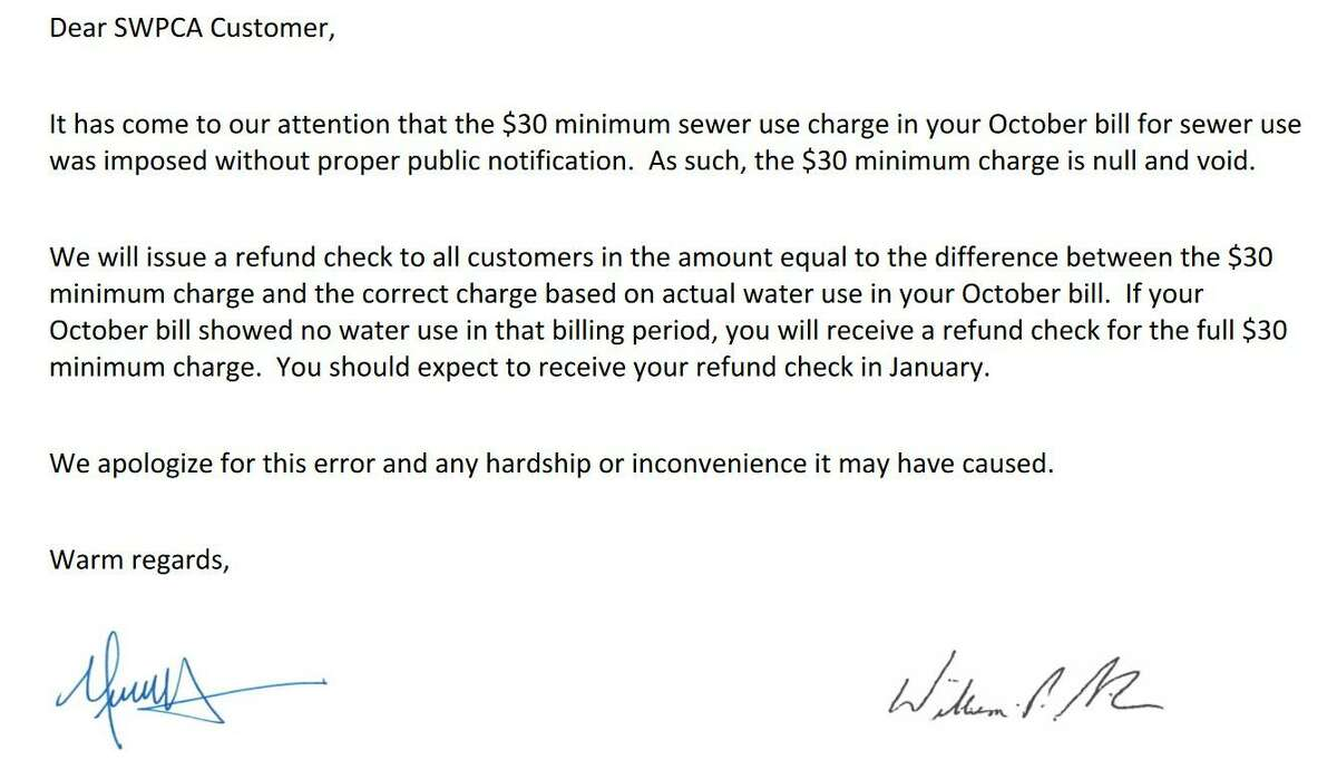 This letter was sent on Dec. 20 to 752 snowbirds in Stamford who were billed a minimum of $30 on their October bills.