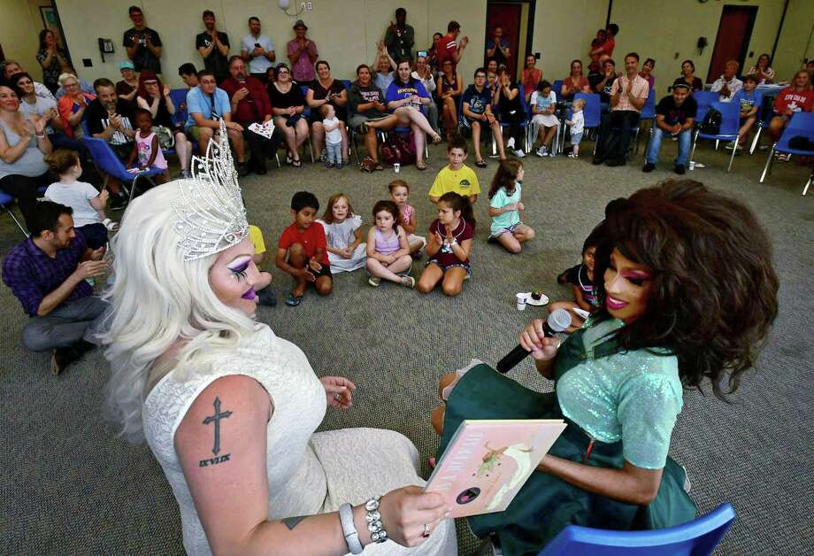 Children attend a Drag Queen Story Time event in the United States. Photo: Erik Trautmann / Hearst Connecticut Media / Norwalk Hour