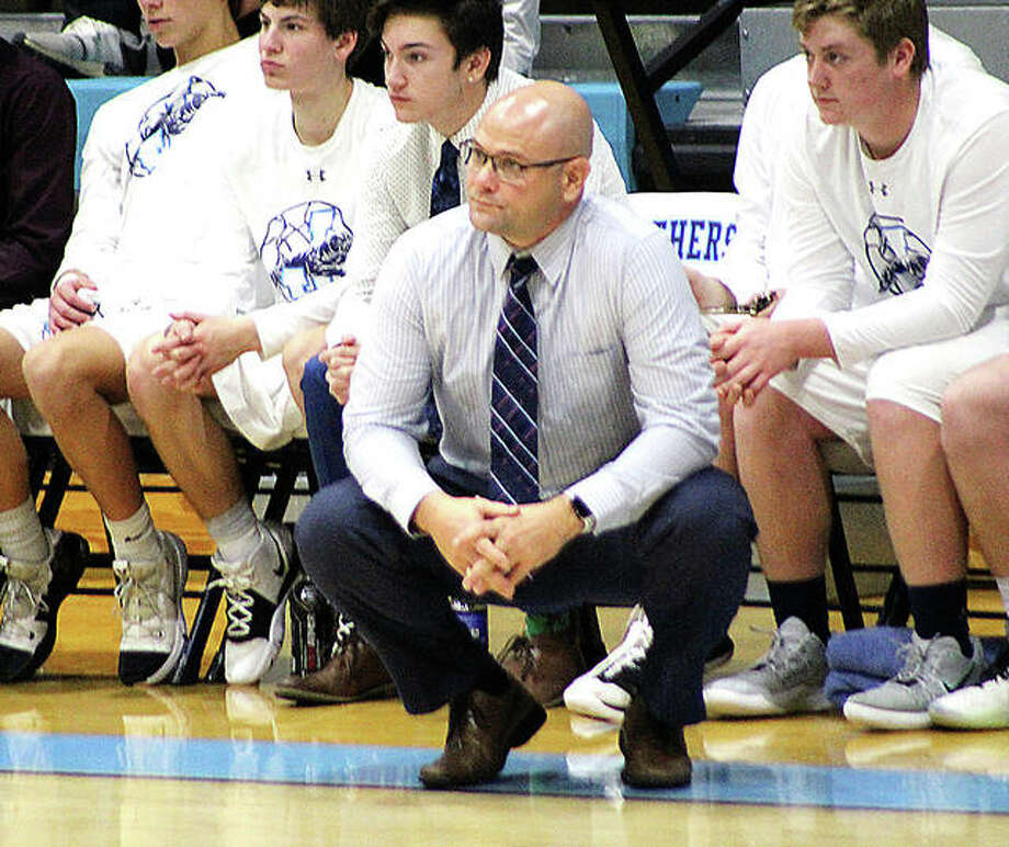 Coach Stote Reeder's Jersey Panthers went 2-2 in the Duster Thomas Hoops Classic in Pinckenyville, ending the three-day affair with a win over Salem in the seventh-place game Saturday nigh. Reeder is shown earlier this season in a game against Alton. Photo: Pete Hayes | The Telegraph