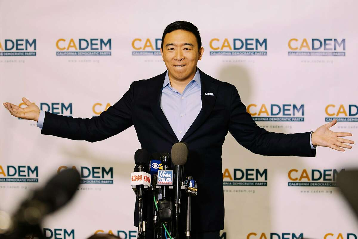 LONG BEACH, CA - NOVEMBER 16: Andrew Yang speaks to members of the media at the California Democratic Party's 2019 Fall Endorsing Convention at the Long Beach Convention Center in Long Beach, California November 16, 2019.