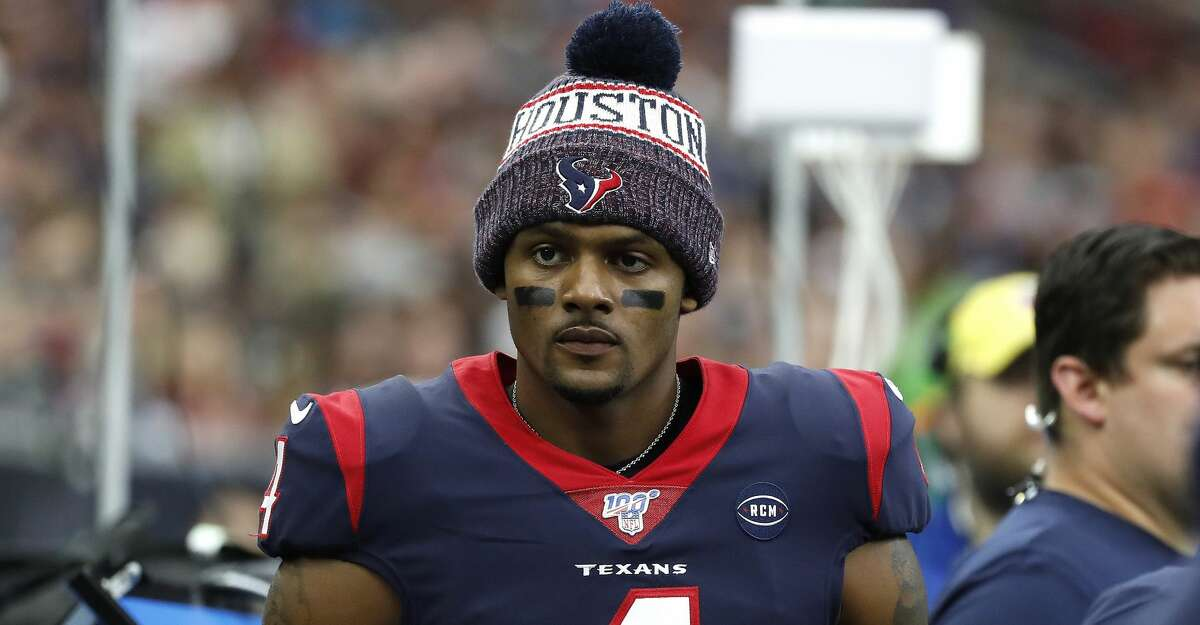 PHOTOS: Texans vs. Titans Houston Texans quarterback Deshaun Watson (4) with a knit cap on, in the bench area during the first half of an NFL football game at NRG Stadium, Sunday, Dec. 29, 2019, in Houston.