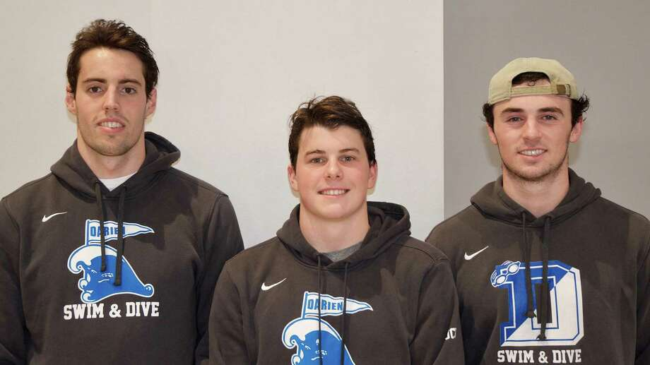 Darien swimming and diving captains for the 2019-20 season, from left, Nico Clark, Scotty Tuck, and Connor Martin. Photo: Jude O'Brien / Contributed / Jude O'Brien