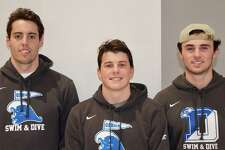 Darien swimming and diving captains for the 2019-20 season, from left, Nico Clark, Scotty Tuck, and Connor Martin.