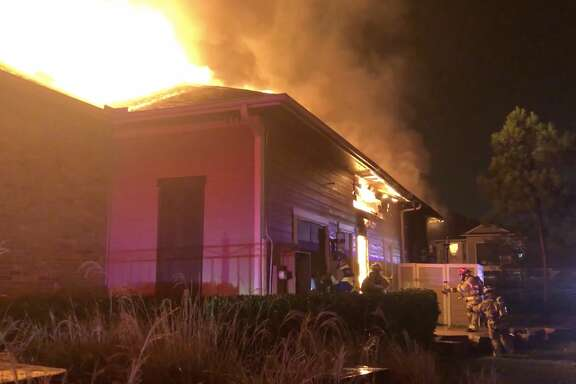 Cy-Fair firefighters tackles a fire inside an apartment complex in the 14100 block of Muescke Road on Thursday, Jan. 2, 2020.
