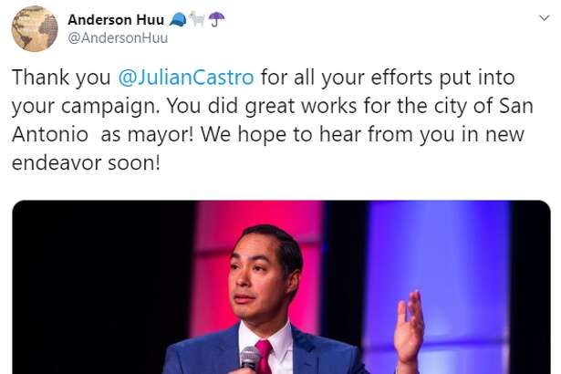@AndersonHuu: Thank you @JulianCastro for all your efforts put into your campaign. You did great works for the city of San Antonio  as mayor! We hope to hear from you in new endeavor soon!