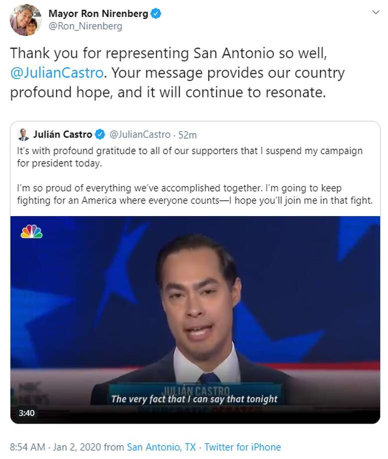 @Ron_Nirenberg: Thank you for representing San Antonio so well, @JulianCastro . Your message provides our country profound hope, and it will continue to resonate. Photo: Twitter Screengrab