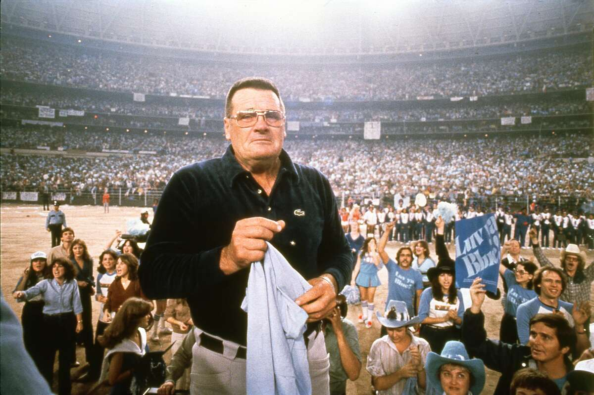January 1980: Houston Oilers coach Bum Phillips shows the emotion that he shared with many of his players as they were welcomed by a crowd of more than 55,000 inside the Astrodome after returning from Pittsburgh. For the second year in a row, the Oilers lost the American Football Conference championship game to the Steelers but still received an enthusiastic welcome from their fans.