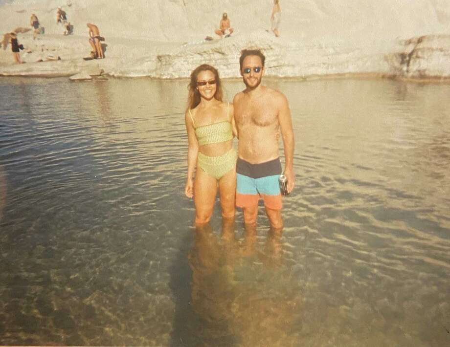 Elizabeth Kiefer and her husband, Andrew Tejerina, at Sarakiniko on the Greek island of Milos. Photo: Family Photo. / Family Photo