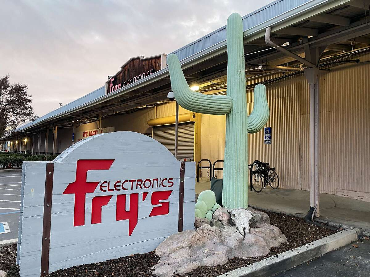 The door of the Fry's Electronics store in Palo Alto is covered on Jan. 1, 2020.