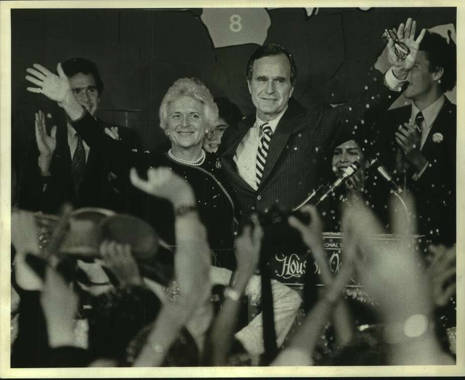 Vice President George and wife Barbara Bush wave at crowd. Step back in time with our gallery to see Houston life as the 1980s began.? Photo: Larry Reese/Houston Chronicle / ? Houston Chronicle