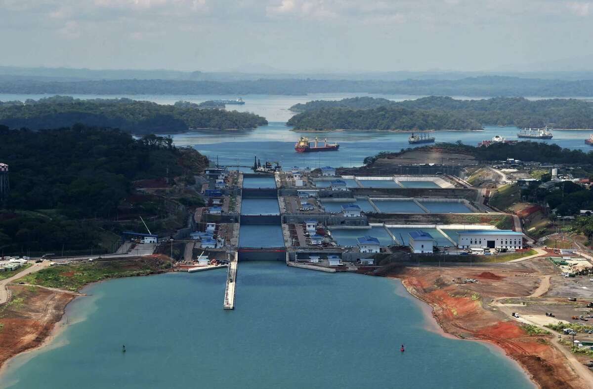 This aerial file photo taken on May 11, 2016 shows the new Panama Canal expansion at the Gatun Locks in Colon, Panama. (Photo by RODRIGO ARANGUA/AFP via Getty Images)