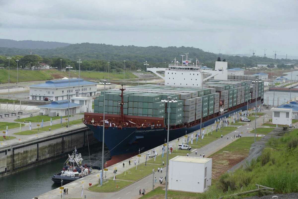 Chinese-chartered merchant ship Cosco Shipping Panama crosses the new Agua Clara Locks during the inauguration of the expansion of the Panama Canal on June 26, 2016. JOHAN ORDONEZ/AFP/Getty Images