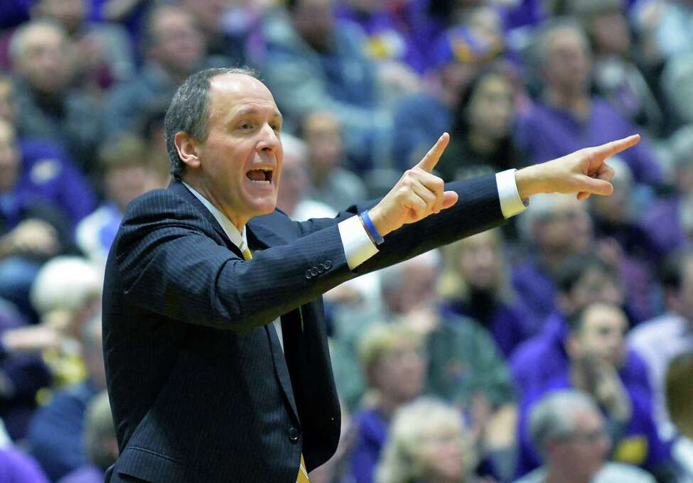 Vermont head coach John Becker calls out to players during Saturday's game against UAlbany at the SEFCU Arena Saturday Feb. 6, 2016 in Albany, NY. (John Carl D'Annibale / Times Union)