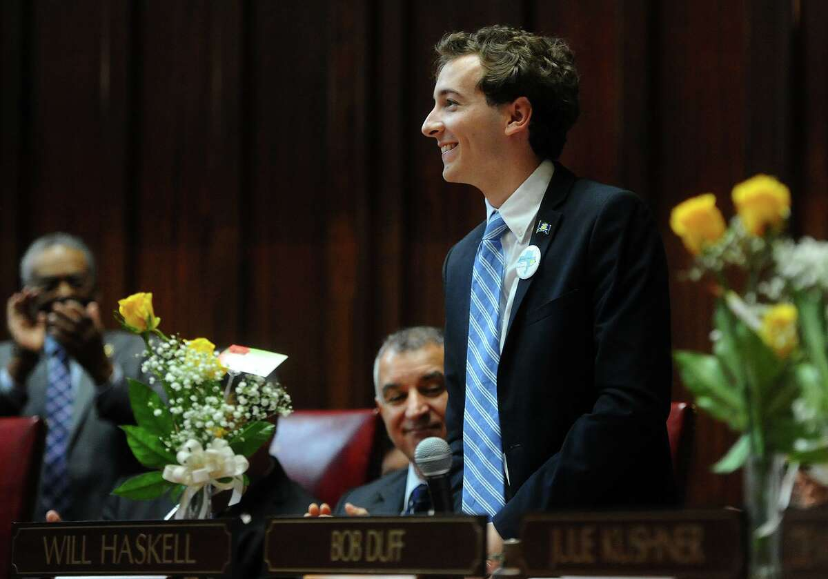 New state Sen.Will Haskell, D-Westport, is introduced during the opening session of the senate at the Capitol in Hartford in January.