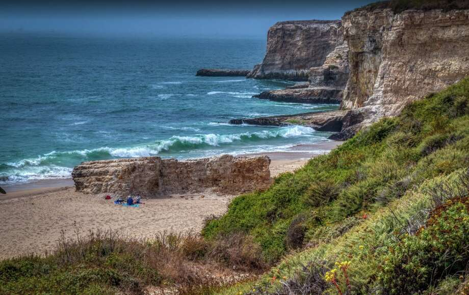 A view of Bonny Doon Beach, where a man was toppled over by a massive wave Tuesday. Authorities say he was rescued by state park rangers. Photo: Google Maps