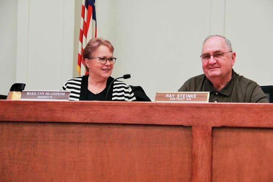 "On Thursday, Mecosta County Commissioners Marilynne (Vargo) Bradstrom and Ray Steinke were appointed as the new 2020 vice-chairperson and chairperson, respectively, for the commission. Steinke was vice-chair person last year. ""It's an honor to be the commissioner chair,"" he said. (Pioneer photo/Alicia Jaimes)"
