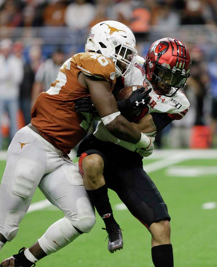 Texas linebacker and Oak Ridge graduate Joseph Ossai (46) was one of 90 players named to the Chuck Bednarik Award watch list on Monday. Photo: Austin Gay, FRE / Associated Press / Copyright 2019 The Associated Press. All rights reserved.