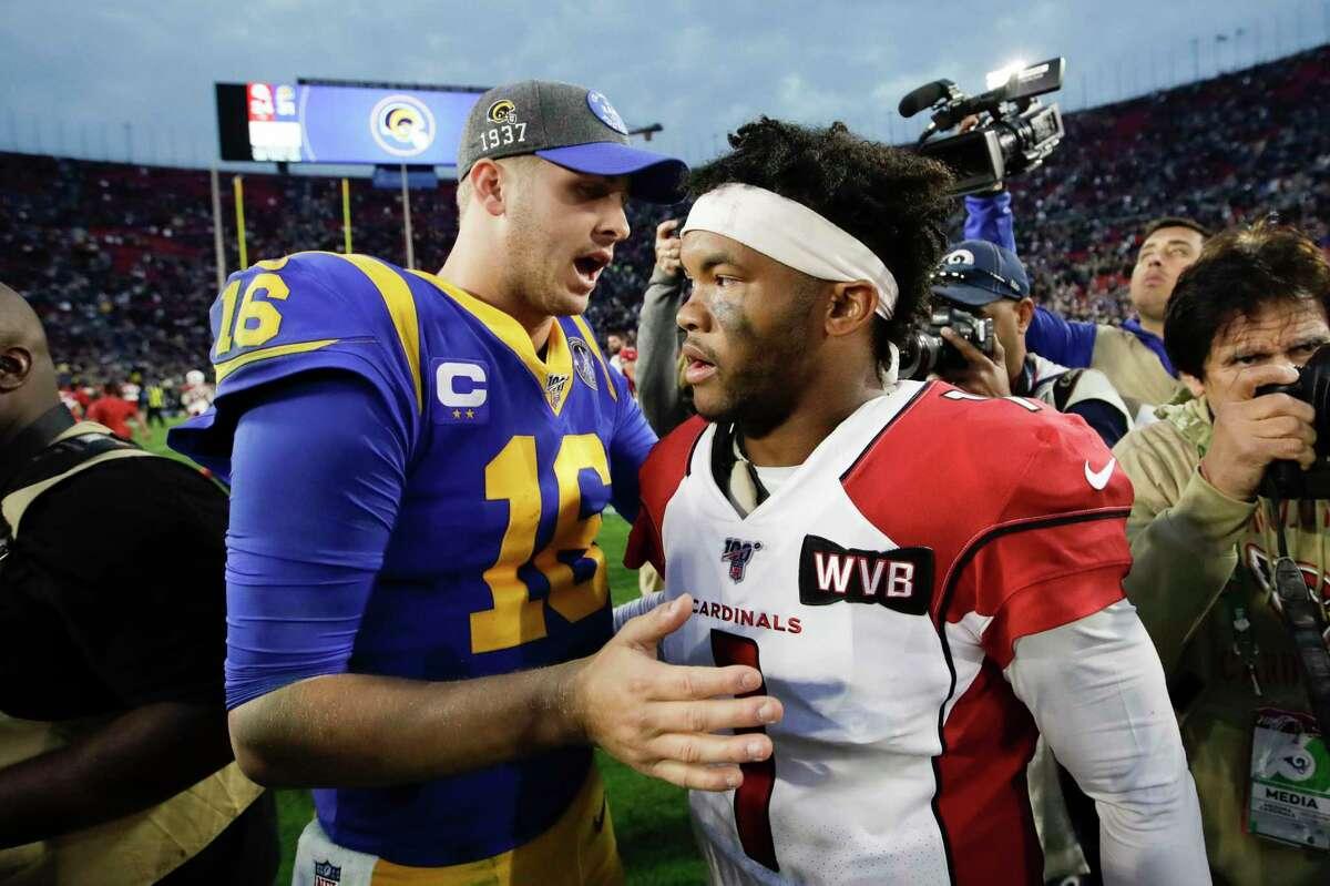 Arizona Cardinals quarterback Kyler Murray, right, greets Los Angeles Rams quarterback Jared Goff after an NFL football game Sunday, Dec. 29, 2019, in Los Angeles. (AP Photo/Marcio Jose Sanchez)