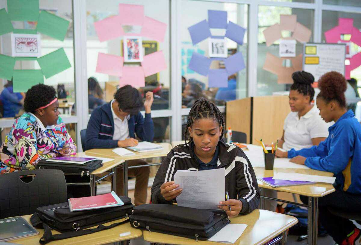 Students study in Jennifer Charles' class at Houston Independent School District's Booker T. Washington High School, Wednesday, Sept. 19, 2018 in Houston.