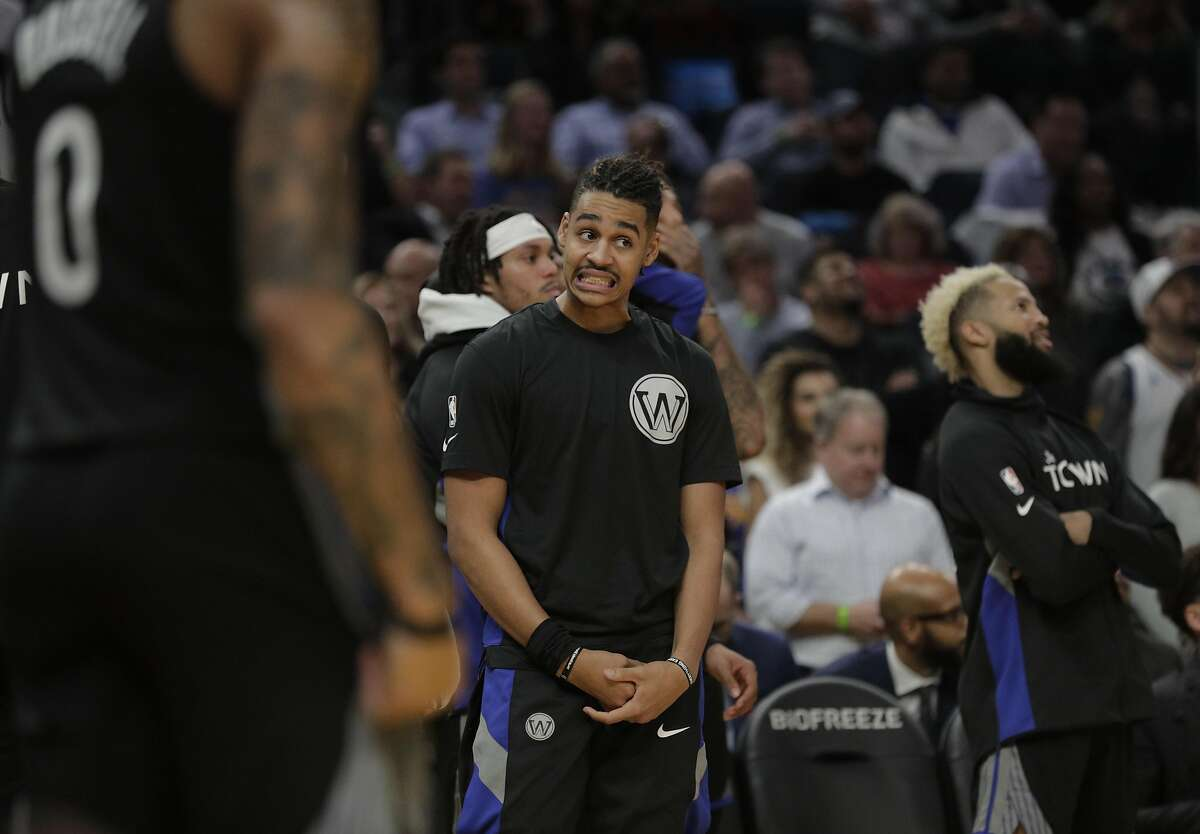 Jordan Poole (3) reacts to a call against the Warriors late in the second half as the Golden State Warriors played the New York Knicks at Chase Center in San Francisco, Calif., on Wednesday, December 11, 2019.
