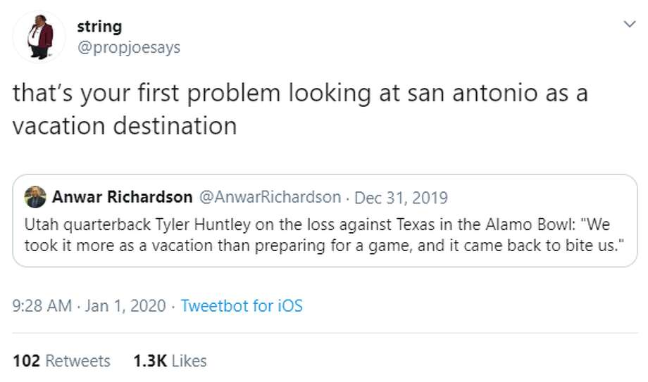 @propjoesays: that's your first problem looking at san antonio as a vacation destination Photo: Twitter Screengrab
