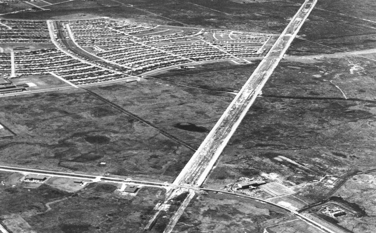 Southwest Freeway under development at Sharpstown, circa 1960. View is looking southwest.