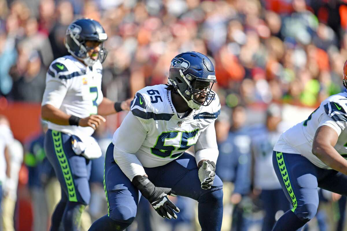CLEVELAND, OHIO - OCTOBER 13: Germain Ifedi #65 of the Seattle Seahawks lines up during the second quarter against the Cleveland Browns at FirstEnergy Stadium on October 13, 2019 in Cleveland, Ohio. (Photo by Jason Miller/Getty Images)